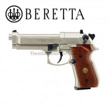 Beretta M92 FS Pistola Full Metal con cachas de madera 4.5mm CO2 Diábolos