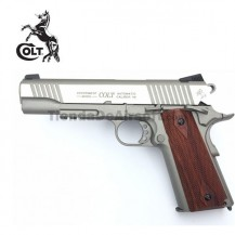Colt 1911 Rail Gun Pistola 6mm Full Metal Blowback CO2 Niquel Madera