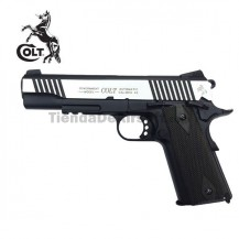 Colt M1911 Rail Gun Pistola 6MM CO2 Negro-Plata Full Metal Blow Back