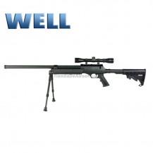 Sniper Well con optica y bipode culata táctical