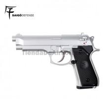 Saigo 92 ( Tipo Beretta 92 ) Pistola 6mm Gas Silver