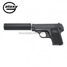 Galaxy tipo Colt 25  con estabilizador -FULL METAL- Negra  - Pistola Muelle - 6 mm